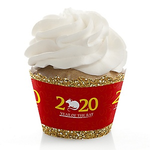 Chinese New Year - 2020 Year of the Rat Decorations - Party Cupcake Wrappers - Set of 12