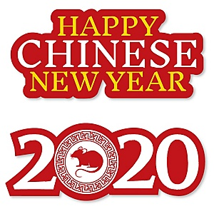 Chinese New Year - DIY Shaped 2020 Year of the Rat Party Cut-Outs - 24 ct