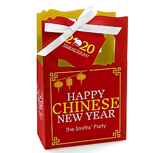 Chinese New Year - Personalized 2020 Year of the Rat Party Favor Boxes - Set of 12