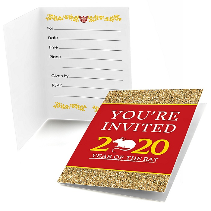 Chinese New Year - Fill In 2020 Year of the Rat Party Invitations - 8 Count