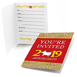 Chinese New Year - Fill In Year of the Pig Party Invitations - 8 Count