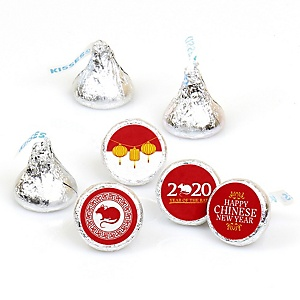 Chinese New Year - 2020 Year of the Rat Party Round Candy Sticker Favors - Labels Fit Hershey's Kisses  - 108 ct