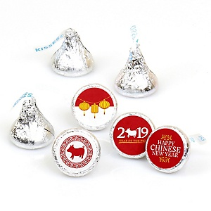 Chinese New Year - Year of the Pig Party Round Candy Sticker Favors - Labels Fit Hershey's Kisses (1 sheet of 108)