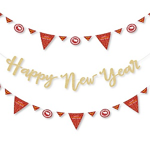Chinese New Year - 2020 Year of the Rat Party Letter Banner Decoration - 36 Banner Cutouts and No-Mess Real Gold Glitter Happy New Year Banner Letters