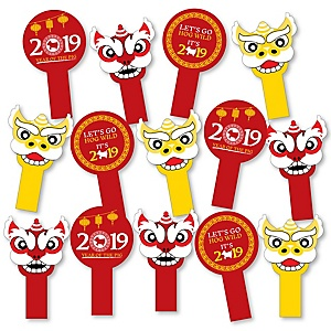 Chinese New Year - Year of the Pig Party Paddle Photo Booth Props - Selfie Photo Booth Props - Set of 14