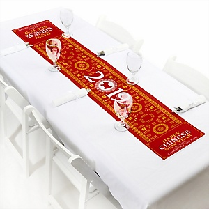 "Chinese New Year - Personalized Petite Year of the Pig Party Table Runner - 12"" x 60"""