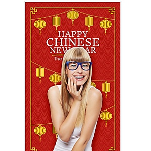 """Chinese New Year - Year of the Pig Photo Booth Backdrops - 36"""" x 60"""""""
