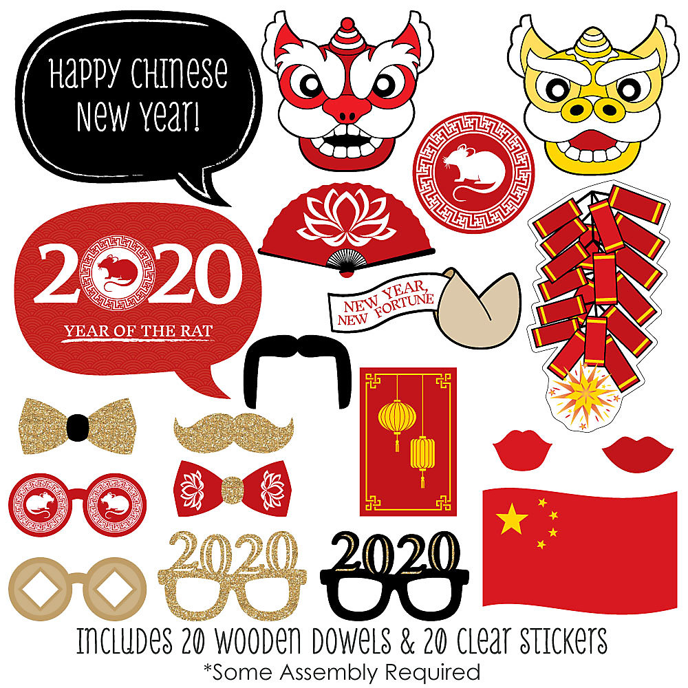 Chinese New Year 2020 Year Of The.Chinese New Year 2020 Year Of The Rat Photo Booth Props Kit 20 Count