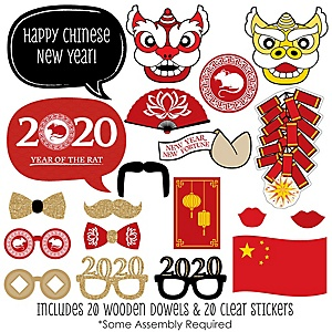 Chinese New Year - 2020 Year of the Rat Photo Booth Props Kit - 20 Count