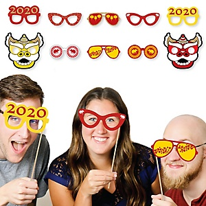 Chinese New Year Glasses and Masks - Paper Card Stock 2020 Year of the Rat Party Photo Booth Props Kit - 10 Count