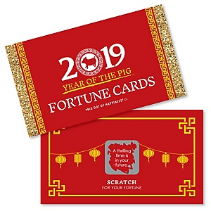 Chinese New Year - Year of the Pig Party Scratch Off Fortune Cards - 22 cards per set