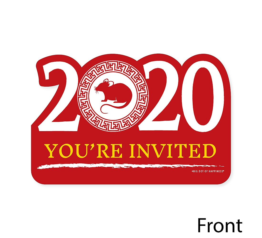 Chinese New Year Shaped Fill In Invitations 2020 Year Of The Rat Party Invitation Cards With Envelopes Set Of 12