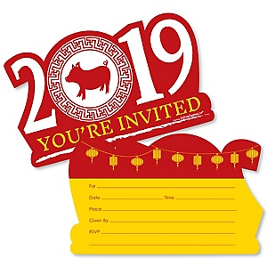 Chinese New Year - Shaped Fill-In Invitations - 2019 Year of the Pig Party Invitation Cards with Envelopes - Set of 12