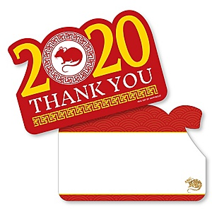 Chinese New Year - Shaped Thank You Cards - 2020 Year of the Rat Party Thank You Note Cards with Envelopes - Set of 12