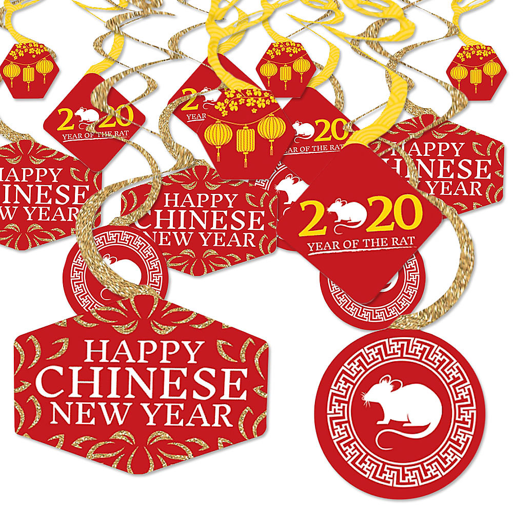 When Is Chinese New Year 2020.Chinese New Year 2020 Year Of The Rat Party Hanging Decor Party Decoration Swirls Set Of 40