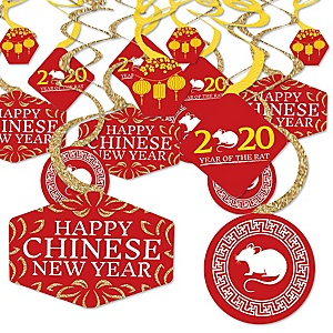 Chinese New Year - 2020 Year of the Rat Party Hanging Decor - Party Decoration Swirls - Set of 40