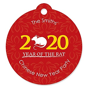 Chinese New Year - Personalized 2020 Year of the Rat Party Favor Gift Tags - 20 ct