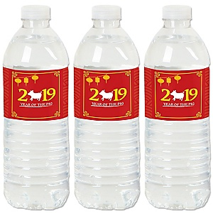 Chinese New Year - 2019 Year of the Pig Party Water Bottle Sticker Labels - Set of 20
