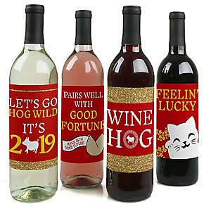 Chinese New Year - Year of the Pig Decorations for Women and Men - Wine Bottle Label Stickers - Set of 4