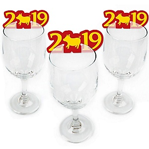Chinese New Year - Shaped Year of the Pig Wine Glass Markers - Set of 24