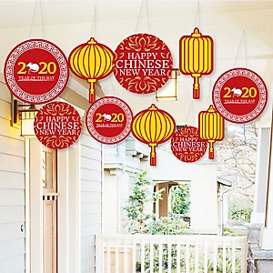 Hanging Chinese New Year - Outdoor 2020 Year of the Rat Hanging Porch & Tree Yard Decorations - 10 Pieces