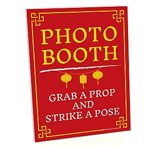 Chinese New Year Photo Booth Sign - 2020 Year of the Rat Party Decorations - Printed on Sturdy Plastic Material - 10.5 x 13.75 inches - Sign with Stand - 1 Piece