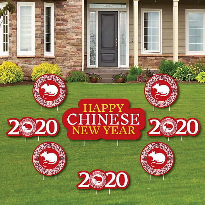 Chinese New Year - Yard Sign & Outdoor Lawn Decorations - 2020 Year of the Rat Yard Signs - Set of 8