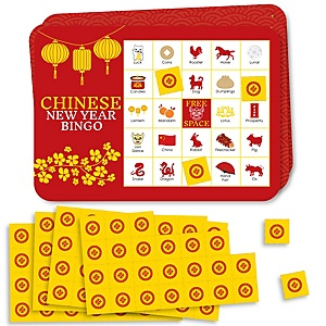 Chinese New Year - Bingo Cards and Markers - Year of the Rat Party Bingo Game - Set of 18