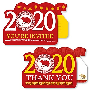 Chinese New Year - 20 Shaped Fill-In Invitations and 20 Shaped Thank You Cards Kit - 2020 Year of the Rat Party Stationery Kit - 40 Pack