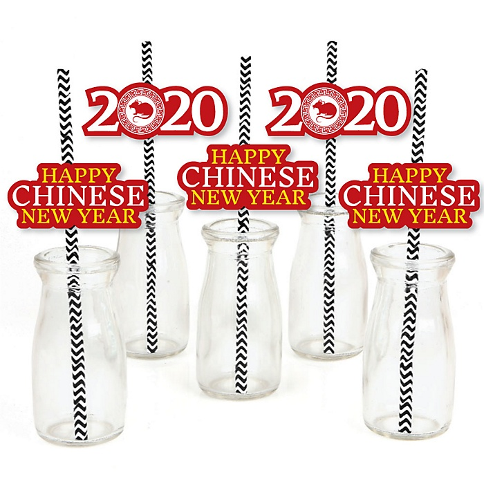 Chinese New Year - Paper Straw Decor - 2020 Year of the Rat Party Striped Decorative Straws - Set of 24