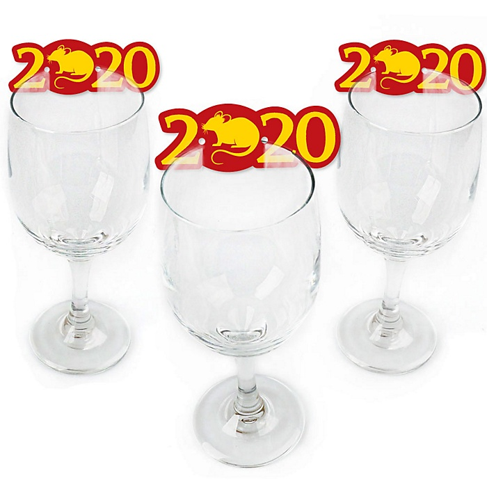 Chinese New Year - Shaped Year of the Rat Wine Glass Markers - Set of 24