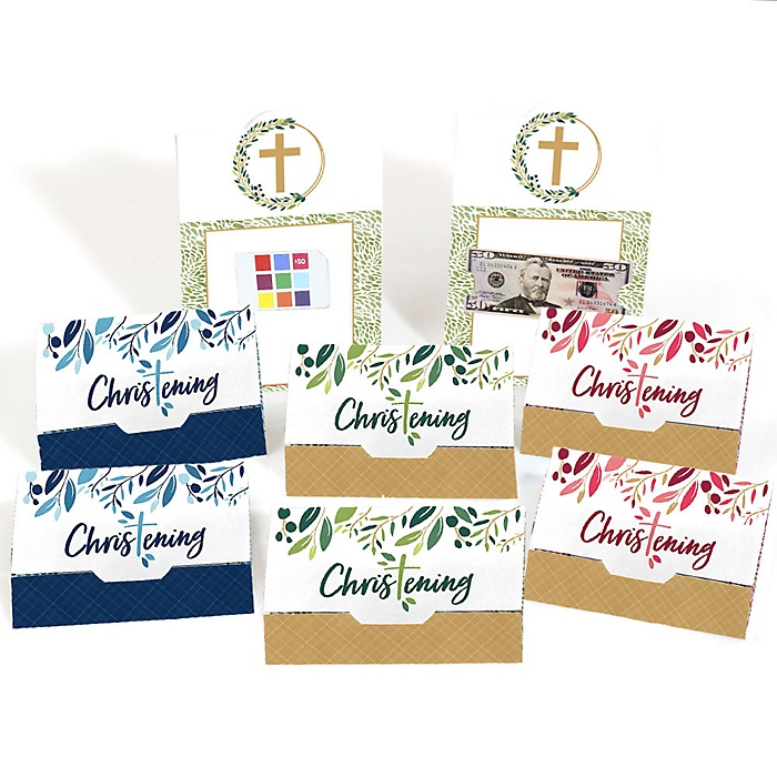 Christening Elegant Cross - Assorted Religious Party Money And Gift Card Holders - Set of 8