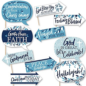 Funny Christening Blue Elegant Cross - Boy Religious Party 10 Piece Photo Booth Props Kit