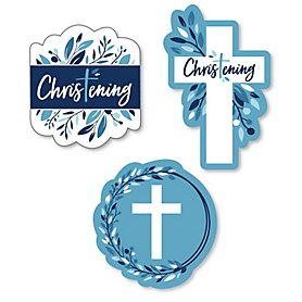 Christening Blue Elegant Cross - DIY Shaped Boy Religious Party Cut-Outs - 24 ct