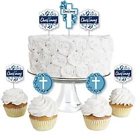 Christening Blue Elegant Cross - Dessert Cupcake Toppers - Boy Religious Party Clear Treat Picks - Set of 24