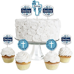 Christening Blue Elegant Cross - Dessert Cupcake Toppers - Boy Religious Party Clear Treat Picks - Set of 24