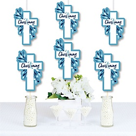 Christening Blue Elegant Cross - Decorations DIY Boy Religious Party Essentials - Set of 20