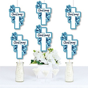 Christening Blue Elegant Cross - Decorations DIY Boy Religious Party Essentials - Set of 20