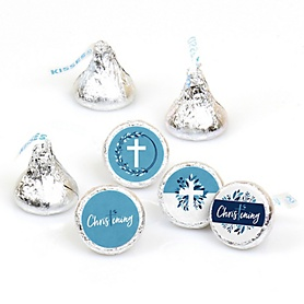 Christening Blue Elegant Cross - Boy Religious Party Round Candy Sticker Favors - Labels Fit Hershey's Kisses - 108 ct