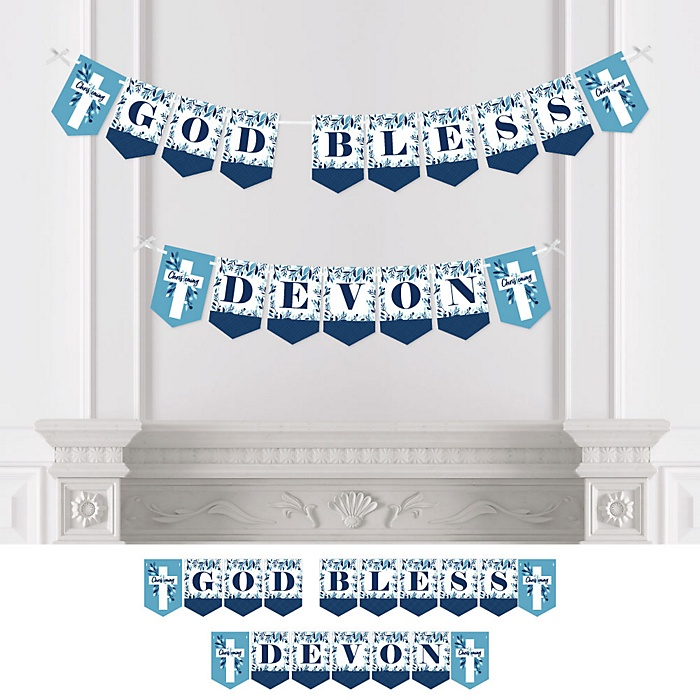 Christening Blue Elegant Cross - Personalized Boy Religious Party Bunting Banner and Decorations