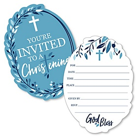 Christening Blue Elegant Cross - Shaped Fill-In Invitations - Boy Religious Party Invitation Cards with Envelopes - Set of 12