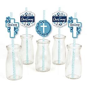 Christening Blue Elegant Cross - Paper Straw Decor - Boy Religious Party Striped Decorative Straws - Set of 24