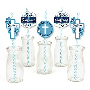 Christening Blue Elegant Cross - Paper Straw Decor - Boy Religious Party Striped Decorative Straws - Set of 24