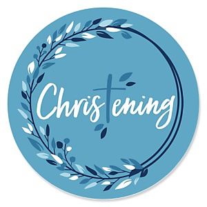 Christening Blue Elegant Cross - Religious Party Theme