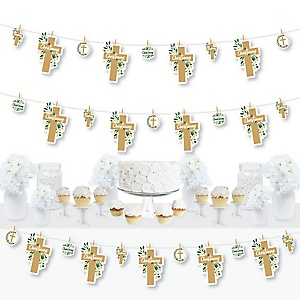 Christening Elegant Cross - Religious Party DIY Decorations - Clothespin Garland Banner - 44 Pieces