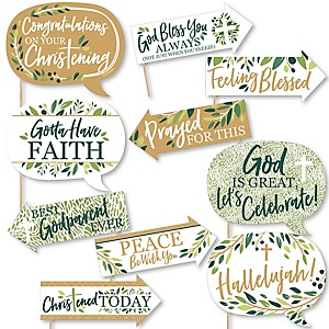 Funny Christening Elegant Cross - Religious Party 10 Piece Photo Booth Props Kit