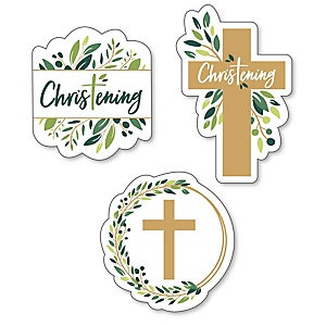 Christening Elegant Cross - DIY Shaped Religious Party Cut-Outs - 24 ct