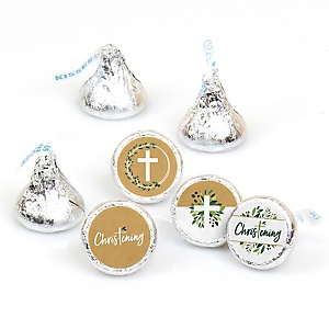 Christening Elegant Cross - Religious Party Round Candy Sticker Favors - Labels Fit Hershey's Kisses  - 108 ct