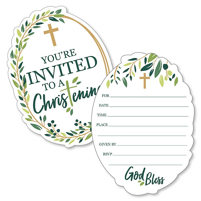 Christening Elegant Cross - Shaped Fill-In Invitations - Religious Party Invitation Cards with Envelopes - Set of 12