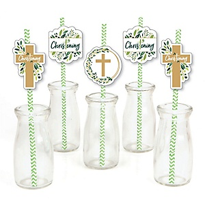 Christening Elegant Cross - Paper Straw Decor - Religious Party Striped Decorative Straws - Set of 24